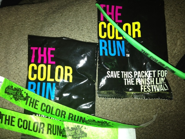 Our bag of color for the after party, wristband and sunglasses...we are ready to run