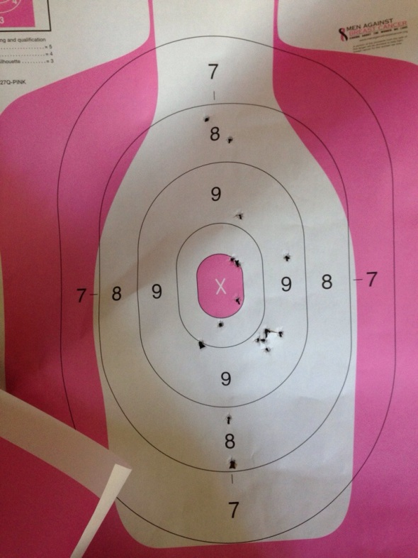 Again, all shots near the X are from my daddy.  Notice the holes are a bit bigger from the Glock